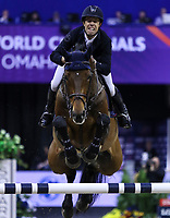 OMAHA, NEBRASKA - APR 2: Maikel Van der Vlueten rides VDL Greop Verdi Tn N during the Longines FEI World Cup Jumping Final at the CenturyLink Center on April 2, 2017 in Omaha, Nebraska. (Photo by Taylor Pence/Eclipse Sportswire/Getty Images)
