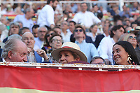 San Isidro Bullfight Festival at Las Ventas bull round in Madrid on May 15, 2019.<br /> Former King of Spain Juan Carlos, Princess Elena and her daughter Victoria Federica
