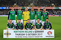 Northern Ireland's team - (Front Row L to R) Lee Hodson, Oliver Norwood, Steven Davis, Corry Evans, Conor McLaughlin, (Back Row L to R) Kyle Lafferty, Gareth McAuley, Michael McGovern, Josh Magennis, Jonny Evans and Chris Brunt before their clash with with Germany during the FIFA World Cup 2018 Qualifying Group C qualifying soccer match between Northern Ireland and Germany at the National Football Stadium at Windsor Park, Belfast, Northern Ireland, 5 Oct 2017. Photo/Paul McErlane