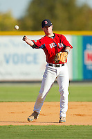 Tanner Bigham (2) of Northwest Cabarrus High School makes a throw to first base during fielding practice at the 2012 South Atlantic Border Battle on November 3, 2012 in Burlington, North Carolina.  The Mets (SC13) defeated the Red Sox (NC 13) 3-2.  (Brian Westerholt/Four Seam Images)