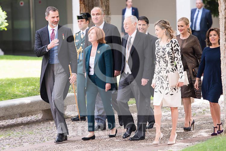 "King Felipe VI, Eduardo Mendoza Garriga and Queen Letizia during award ceremony of literature in Spanish ""Miguel de Cervantes"" at University of Alcala de Henares in Madrid., April 20, 2017. Spain.<br /> (ALTERPHOTOS/BorjaB.Hojas)"