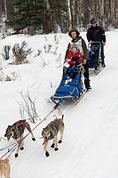 Sebastian Schnuelle w/Iditarider on Trail 2005 Iditarod Ceremonial Start near Campbell Airstrip Alaska SC