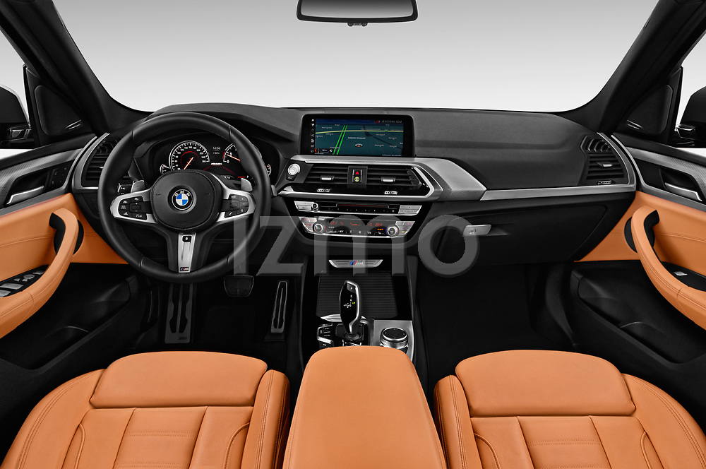 Stock photo of straight dashboard view of a 2018 BMW X3 base 5 Door SUV