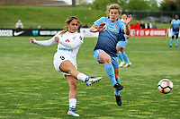 Piscataway, NJ - Sunday April 30, 2017: Lo'eau LaBonta, Daphne Corboz during a regular season National Women's Soccer League (NWSL) match between Sky Blue FC and FC Kansas City at Yurcak Field.