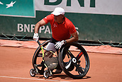 8th June 2017, Roland Garros, Paris, France; French Open tennis championships, mens wheelchair singles;  Stephane Houdet (Fra) plays Shingo Kunieda (Jap)