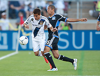 Stanford, California - Saturday June 30, 2012: Hector Jimenez and Justin Morrow in action during a game at Stanford Stadium, Stanford, Ca.San Jose Earthquakes defeated Los Angeles Galaxy,  4 to 3