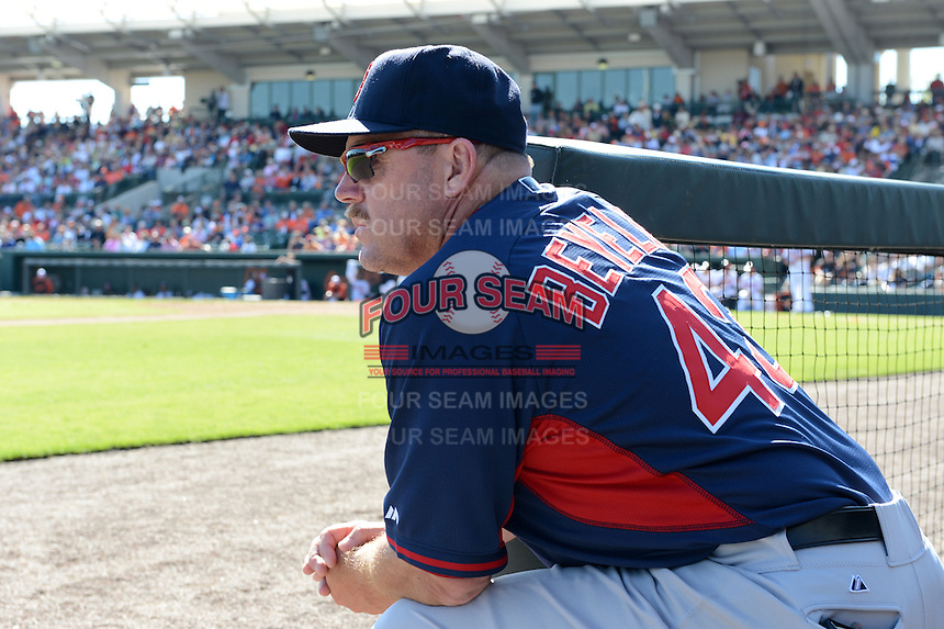 Boston Red Sox coach Arnie Beyeler (43) during a spring training game against the Baltimore Orioles on March 8, 2014 at Ed Smith Stadium in Sarasota, Florida.  Baltimore defeated Boston 7-3.  (Mike Janes/Four Seam Images)