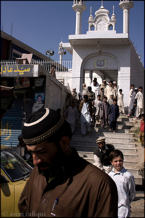 outside a local mosque in the city of mingora, swat
