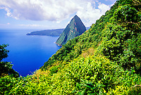 View of the Petit Piton (peak) from the hike up the Gros Piton, island of St. Lucia