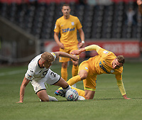 \Swansea City's Jake Bidwell (left) battles with Preston North End's Louis Moult (right) <br /> <br /> Photographer David Horton/CameraSport<br /> <br /> The EFL Sky Bet Championship - Swansea City v Preston North End - Saturday 17th August 2019 - Liberty Stadium - Swansea<br /> <br /> World Copyright © 2019 CameraSport. All rights reserved. 43 Linden Ave. Countesthorpe. Leicester. England. LE8 5PG - Tel: +44 (0) 116 277 4147 - admin@camerasport.com - www.camerasport.com