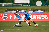 Kansas City, MO - Wednesday August 16, 2017: Camila Martins Pereira, Maegan Kelly during a regular season National Women's Soccer League (NWSL) match between FC Kansas City and the Orlando Pride at Children's Mercy Victory Field.