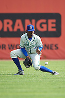 Hartford Yard Goats center fielder Raimel Tapia (15) fields a hit during the first game of a doubleheader against the Trenton Thunder on June 1, 2016 at Sen. Thomas J. Dodd Memorial Stadium in Norwich, Connecticut.  Trenton defeated Hartford 4-2.  (Mike Janes/Four Seam Images)