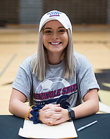 NWA Democrat-Gazette/BEN GOFF @NWABENGOFF<br /> Taylor Muff, Bentonville soccer player, poses for a photo Wednesday, Feb. 6, 2019, during a signing ceremony at Bentonville's Tiger Arena. Muff signed to play at Seminole State.