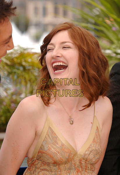 "KELLY MacDONALD.""No Country for Old Men"" photocall,.60th International Cannes Film Festival,.Cannes, France, 19th May 2007..portrait headshot gold necklace laughing funny mouth open.CAP/PL.©Phil Loftus/Capital Pictures."