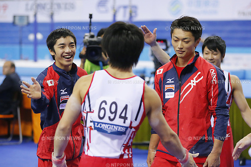 (L-R) Kenzo Shirai, Kohei Kameyama (JPN), OCTOBER 7, 2014 - Artistic Gymnastics : 2014 World Artistic Gymnastics Championships <br /> Men's Team Final at the Guangxi Gymnasium in Nanning, China. (Photo by Yusuke Nakanishi/AFLO SPORT)