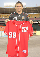 Jaime is presented with a Washington Nationals baseball shirt during festivities surrounding the final appearance of Jaime Moreno in a D.C. United uniform, at RFK Stadium, in Washington D.C. on October 23, 2010. Toronto won 3-2.