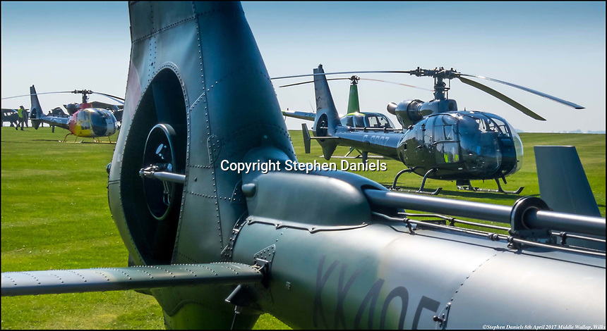 © Stephen Daniels April 2017----<br /> Gazelle Helecopters at Gazelle Helicopters air show, Army base Middle Wallop, Nr Andover, Wilks