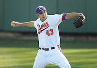 Pitcher Patrick Andrews (43) of the Clemson Tigers prior to a game against the the Wofford Terriers on Wednesday, March 6, 2013, at Doug Kingsmore Stadium in Clemson, South Carolina. Clemson won, 9-2. (Tom Priddy/Four Seam Images)