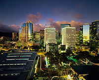 Downtown Honolulu at Night, Oahu, Hawaii, USA.