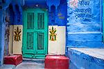 India, Jodhpur, Blue City, Historical City, blue house entrance
