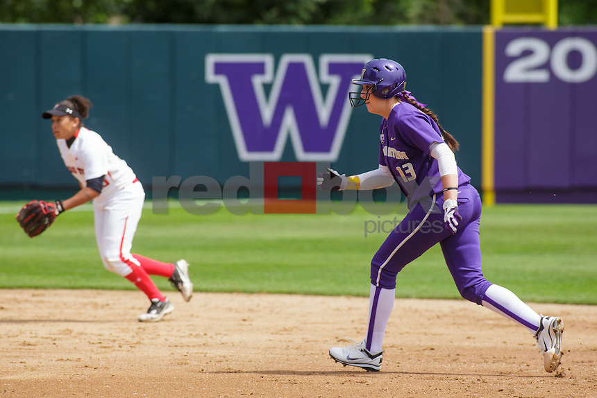 University of Washington Huskies softball defeats Texas Tech Red Raiders at Husky Softball Stadium in Seattle Saturday, May 19, 2012. (Photos by Andy Rogers/Red Box Pictures)