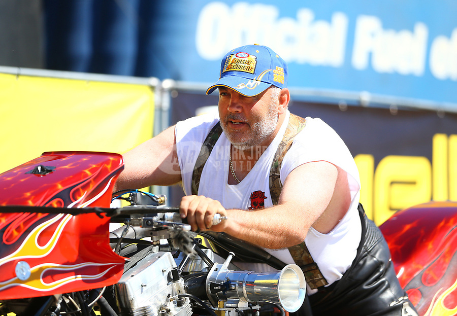 May 21, 2017; Topeka, KS, USA; NHRA top fuel nitro Harley Davidson rider Mike Scott during the Heartland Nationals at Heartland Park Topeka. Mandatory Credit: Mark J. Rebilas-USA TODAY Sports