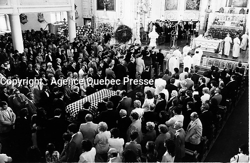 Berthierville (QC) CANADA - 1982 File Photo - Ferrari driver Gilles Villeneuve funeral in his hometown of Berthierville, follwing his accidental death May 8, 1982.<br /> <br /> Villeneuve died after an accident during the final qualifying session for the Belgian Grand Prix at Zolder