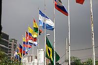 SÃO PAULO, 07 DE MARÇO DE 2013 - LUTO BANDEIRA VENEZUELA - Bandeiras da Venezuela, Brasil e São Paulo sao vista a meio mastro no Memorial da América Latina em luto por Hugo Chávez, na tarde desta quinta-feira(07), Barra Funda, zona oeste da capital - FOTO: LOLA OLIVEIRA/BRAZIL PHOTO PRESS