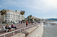 La Promenade des Anglais with the Negresco Hotel, left, Nice, France, 28 April 2012