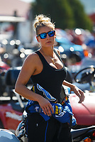 Sep 24, 2017; Mohnton, PA, USA; NHRA top fuel driver Leah Pritchett during the Dodge Nationals at Maple Grove Raceway. Mandatory Credit: Mark J. Rebilas-USA TODAY Sports