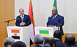 Egyptian President Abdel Fattah al-Sisi and Gabon's President Ali Bongo hold a joint press conference after their meeting in Libreville on August 16, 2017. Photo by Egyptian President Office