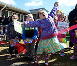 Children can't contain their excitement during the opening ceremony for the little library in front of the South Windsor Child Development Center, Friday, April 20, 2018, in South Windsor. (Jim Michaud / Journal Inquirer)
