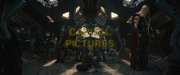 Chris Evans, Scarlett Johansson, Mark Ruffalo, Chris Hemsworth<br /> in Avengers: Age of Ultron (2015) <br /> *Filmstill - Editorial Use Only*<br /> CAP/NFS<br /> Image supplied by Capital Pictures