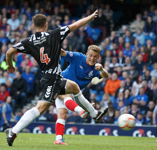 Dean Shiels scores the equaliser for Rangers