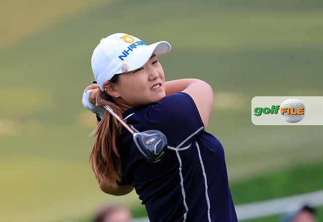 Mirim Lee (KOR) tees off the 6th tee during Friday's Round 2 of The 2016 Evian Championship held at Evian Resort Golf Club, Evian-les-Bains, France. 16th September 2016.<br /> Picture: Eoin Clarke | Golffile<br /> <br /> <br /> All photos usage must carry mandatory copyright credit (&copy; Golffile | Eoin Clarke)