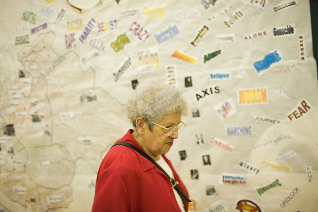 Noemi Ban, Holocaust survivor, speaks to high school students. Joliet, Montana, May 2, 2007.
