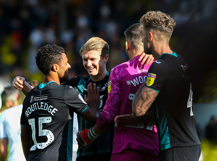 Swansea City's Wayne Routledge celebrates with George Byers, Freddie Woodman and Joe Rodon after the match<br /> <br /> Photographer Alex Dodd/CameraSport<br /> <br /> The EFL Sky Bet Championship - Leeds United v Swansea City - Saturday 31st August 2019 - Elland Road - Leeds<br /> <br /> World Copyright © 2019 CameraSport. All rights reserved. 43 Linden Ave. Countesthorpe. Leicester. England. LE8 5PG - Tel: +44 (0) 116 277 4147 - admin@camerasport.com - www.camerasport.com