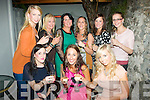 5938-5941.---------.Girls Aloud.-----------.Aine Kelleher,Balloonagh,Tralee(seated centre)and her friends enjoying the complimentary Champagne at Bella Bia,restaurant,Ivy Terrace,Tralee last Friday night as Aine is getting married next September,also seated is Jane Kerrisk(Lt)and Hillary Stephenson(back)L-R Victoria Tynan,Christena Murphy,Noelle Kingston,Emma Fitzgibbon,Mags Quillinan and Alison Tynan.