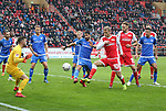 01.12.2018, Stadion an der Wuhlheide, Berlin, GER, 2.FBL, 1.FC UNION BERLIN  VS.SV Darmstadt 98, <br /> DFL  regulations prohibit any use of photographs as image sequences and/or quasi-video<br /> im Bild 1:0 durch Sebastian Andersson (1.FC Union Berlin #10), Aytac Sulu (Darmstadt #4), Fernandes Heuer (Darmstadt #1)<br /> <br /> <br />      <br /> Foto &copy; nordphoto / Engler
