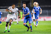28th September 2017, Partizan Stadium, Belgrade, Serbia; UEFA Europa League group stage, Partizan versus Dynamo Kiev; Forward Leandre Tawamba of Partizan and Defender Tamas Kadar of Dynamo Kiev run for the ball