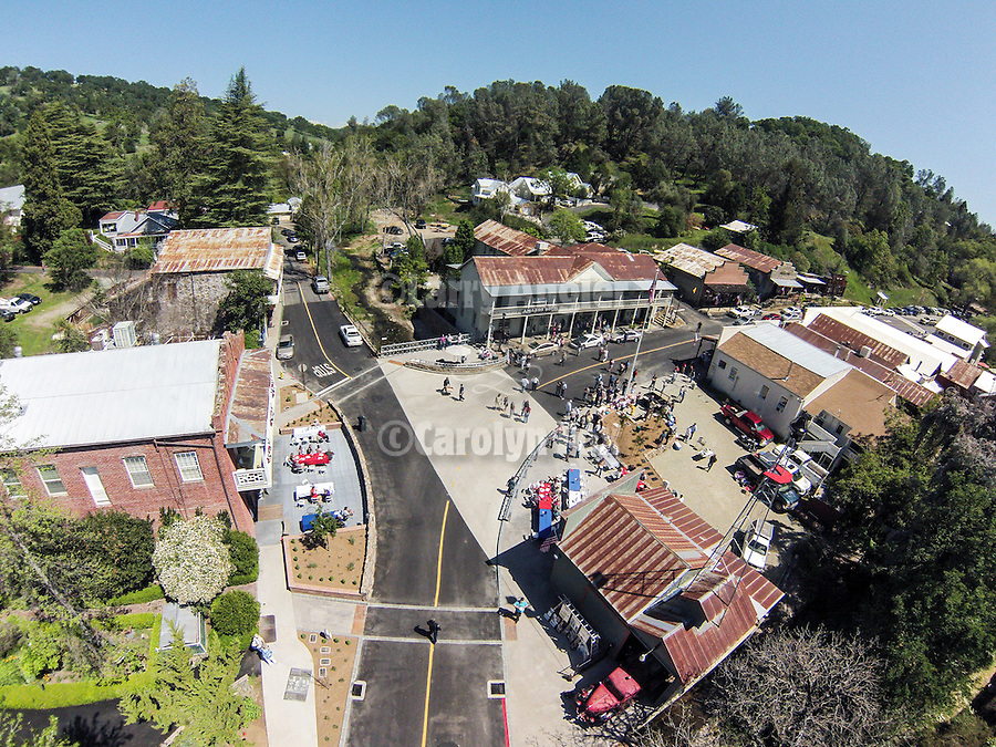 Bridge dedication and ribbon-cutting from the air, Amador City, Calif.