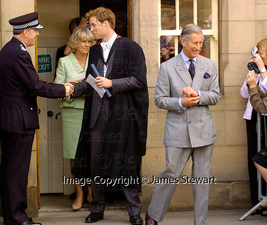 23/06/2005         Copyright Pic : James Stewart.File Name : sct_jspa08 wills graduation.PRINCE WILLIAM, CAMILLA AND PRINCE CHARLES LEAVE ST ANDREWS POLICE STATION AFTER HIS GRADUATION FROM ST ANDREWS UNIVERSITY......Payments to :.James Stewart Photo Agency 19 Carronlea Drive, Falkirk. FK2 8DN      Vat Reg No. 607 6932 25.Office     : +44 (0)1324 570906     .Mobile   : +44 (0)7721 416997.Fax         : +44 (0)1324 570906.E-mail  :  jim@jspa.co.uk.If you require further information then contact Jim Stewart on any of the numbers above.........
