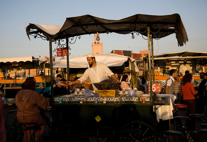 JUNE 3, 2008; MARRAKECH, MOROCCO; Snails are served at a food stall in the Jemaa el Fna in Marrakech, Morocco. The marketplace  comes alive every evening with the smells of open air kitchens, live music and story tellers. Photo by Matt May