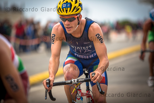 08/05/2016 - Daniel Stateff (ITA) during bike leg at the Elite Men race, 2016 Cagliari ITU Triathlon World Cup -