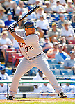 13 March 2007: Detroit Tigers catcher Steve Torrealba in the action against the Los Angeles Dodgers at Holman Stadium in Vero Beach, Florida.<br /> <br /> Mandatory Photo Credit: Ed Wolfstein Photo