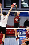 KENOSHA, WI - APRIL 28:  Stevens Institute's Gabe Shankwieler hits an attack at the Springfield College defense at the Division III Men's Volleyball Championship held at the Tarble Athletic and Recreation Center on April 28, 2018 in Kenosha, Wisconsin. (Photo by Steve Woltmann/NCAA Photos via Getty Images)