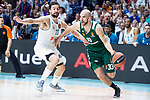 Real Madrid Sergio Llull and Panathinaikos Nick Calathes during Turkish Airlines Euroleague Quarter Finals 4th match between Real Madrid and Panathinaikos at Wizink Center in Madrid, Spain. April 27, 2018. (ALTERPHOTOS/Borja B.Hojas)