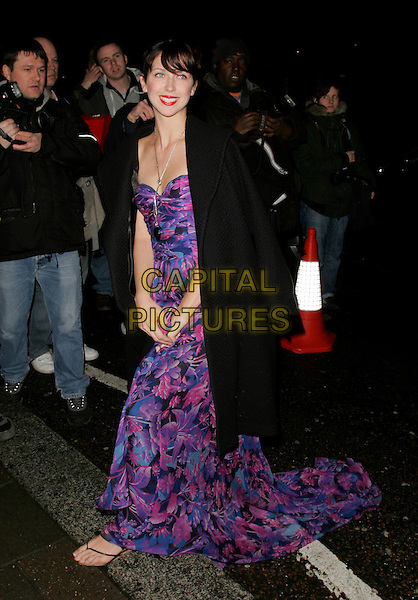 MARGO STILLEY.Finch & Partners' Pre-BAFTA Party, Annabel's, Berkely Sqaure, London, UK..February 10th, 2007.full length purple blue black coat floral print dress .CAP/AH.©Adam Houghton/Capital Pictures