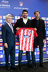 Atletico de Madrid's new player Victor Diego Costa (c) with the President Enrique Cerezo (l) and the General Manager Jose Luis Perez Caminero during his official presentation. December 31, 2016. (ALTERPHOTOS/Acero)