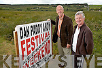 Committee members Joe Harrington with Michael Mangan prepare for the annual Dan Paddy Andy Festival to be held in Lyreacrompane this August Bank Holiday weekend.